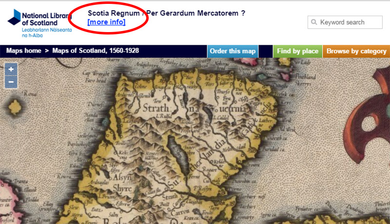 Example of the 'More Info' link to the record page from the zoomable map page