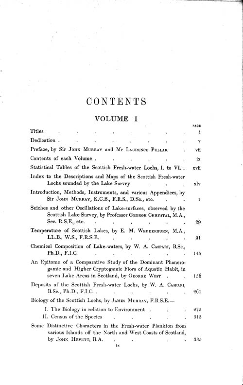 Page ix, Volume 1 - Contents of each Volume