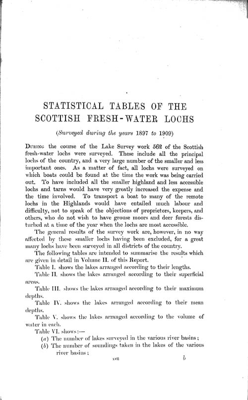 Page xvii, Volume 1 - Statistical Tables of the Scottish Fresh-water Lochs