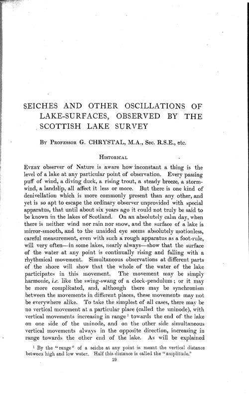 Page 29, Volume 1 - Seiches and other Oscillations of Lake-surfaces, observed by the Scottish Lake Survey, by Professor George Chrystal