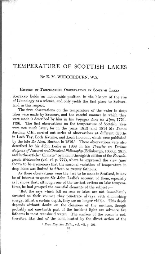 Page 91, Volume 1 - Temperature of Scottish Lakes, by E.M. Wedderburn