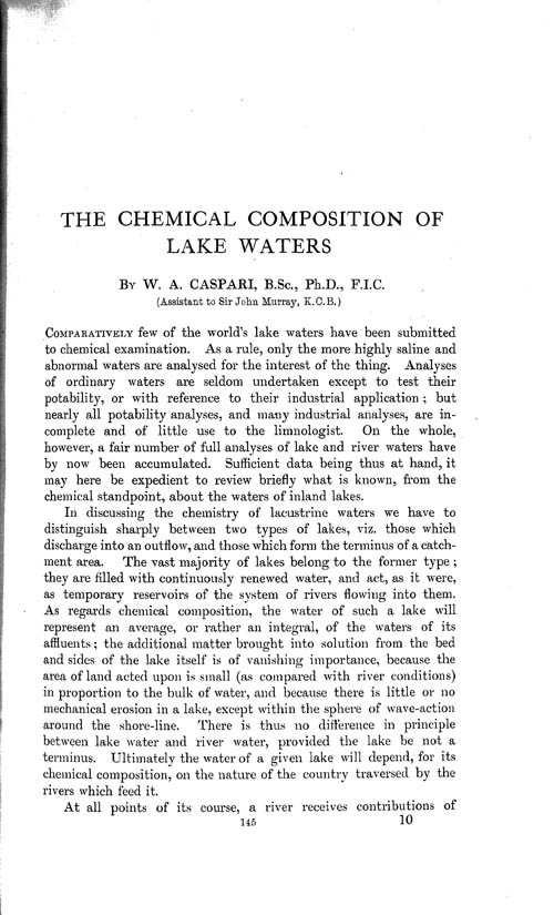 Page 145, Volume 1 - Chemical Composition of Lake-waters by W.A. Caspari