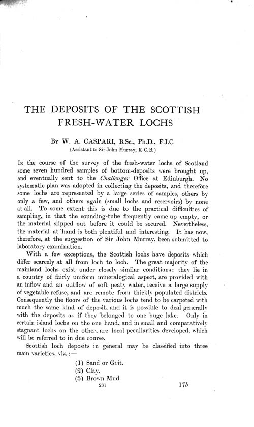 Page 261, Volume 1 - Deposits of the Scottish Fresh-water Lochs, by W.A. Caspari