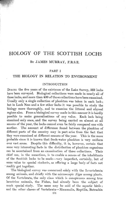 Page 275, Volume 1 - Biology of the Scottish Lochs, by James Murray