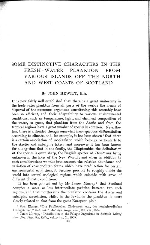 Page 335, Volume 1 - Some Distinctive Characters in the Fresh-water Plankton from various Islands off the North and West Coasts of Scotland, by John Hewitt
