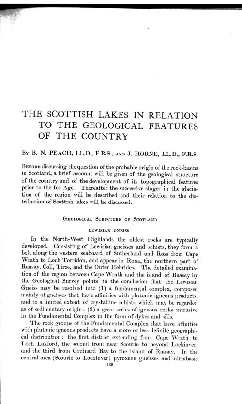 Page 439, Volume 1 - The Scottish Lakes in relation to the Geological Features of the Country, by B.N. Peach and John Horne