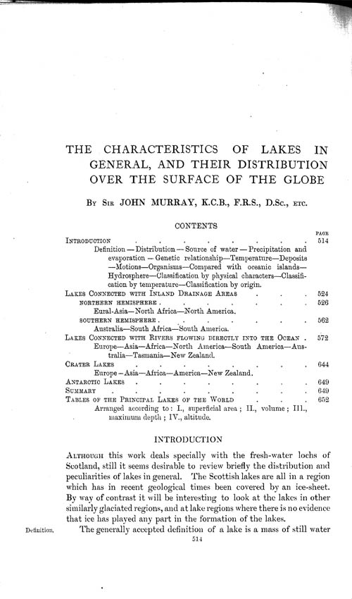 Page 514, Volume 1 - Characteristics of Lakes in general, and their distribution over the Surface of the Globe, by Sir John Murray