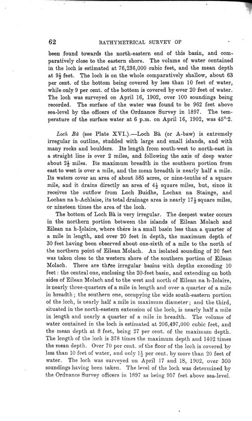 Page 62, Volume II, Part I - Lochs of the Tay Basin