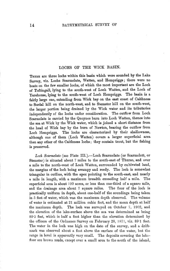 Page 14, Volume II, Part II - Lochs of the Wick Basin