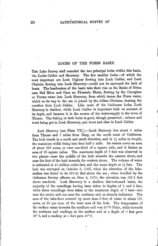 Page 20, Volume II, Part II - Lochs of the Forss Basin