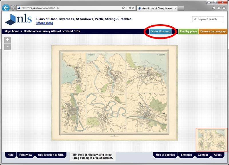 Example of map page with order button