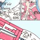 Map details of buildings, water and streets