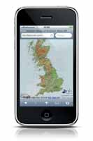 Photo of phone showing map of Britain