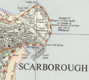 detail of os 125 000 map of scarborough harbour